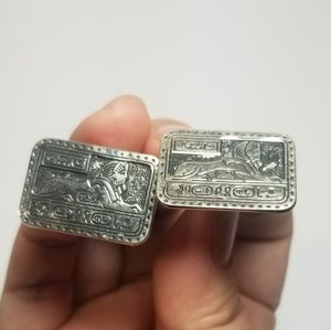 VINTAGE EGYPTIAN SPHINX SILVER TONE CUFF LINKS